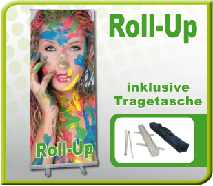 Display Roll-Up. Messe-Aufsteller, Werbedisplay
